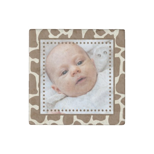 Giraffe Print Frame with Your Image Stone Magnet