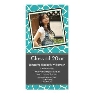 Giraffe Print Graduation Photo Announcement aqua Photo Card