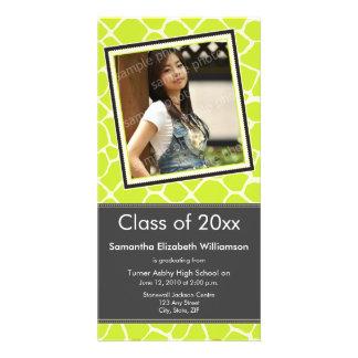 Giraffe Print Graduation Photo Announcement lime Card