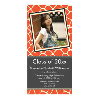 Giraffe Print Graduation Photo Announcement orange Photo Greeting Card