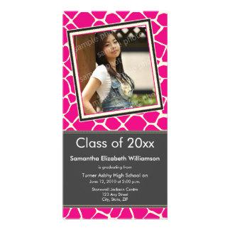 Giraffe Print Graduation Photo Announcement pink Photo Cards