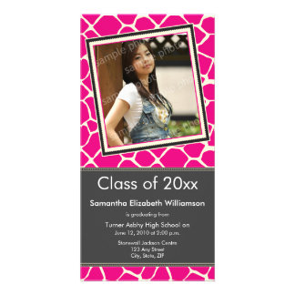 Giraffe Print Graduation Photo Announcement pink Photo Card Template