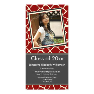 Giraffe Print Graduation Photo Announcement red Custom Photo Card