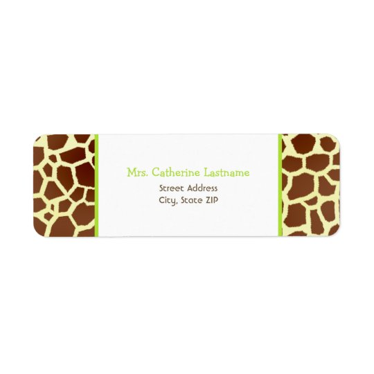 Giraffe Print & Green Address Label Sticker