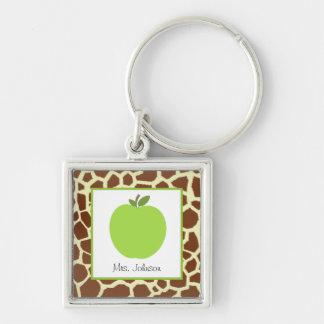 Giraffe Print & Green Apple Personalized Teacher Silver-Colored Square Key Ring