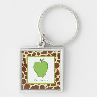 Giraffe Print Green Apple Personalized Teacher Silver-Colored Square Key Ring