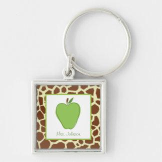 Giraffe Print Green Apple Personalized Teacher Silver-Colored Square Key Ring