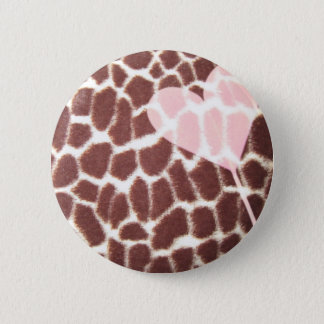 Giraffe Print Heart 6 Cm Round Badge
