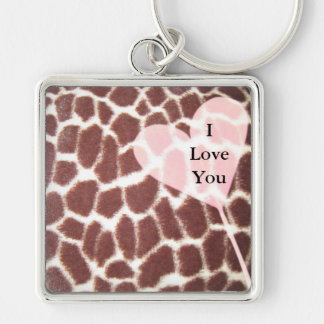 Giraffe Print Heart Silver-Colored Square Key Ring