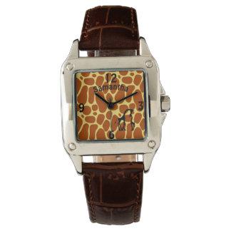 Giraffe Print Mother Baby Name Custom Watch