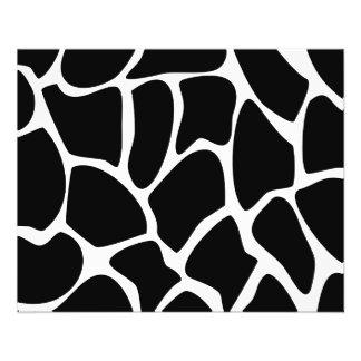 Giraffe Print Pattern. Animal Print Design, Black 11.5 Cm X 14 Cm Flyer