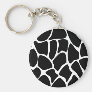Giraffe Print Pattern. Animal Print Design, Black Basic Round Button Key Ring