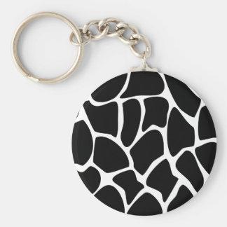 Giraffe Print Pattern. Animal Print Design, Black Basic Round Button Key Ring