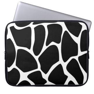Giraffe Print Pattern. Animal Print Design, Black. Laptop Sleeve