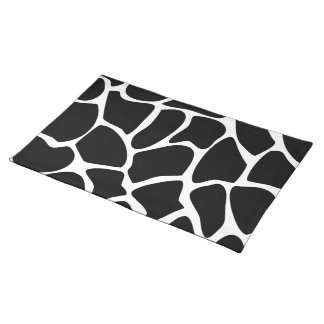 Giraffe Print Pattern. Animal Print Design, Black. Placemat