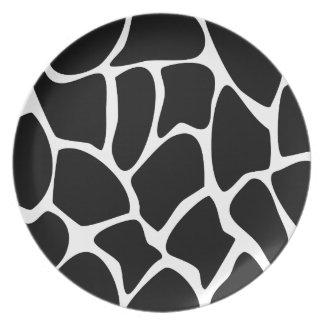 Giraffe Print Pattern. Animal Print Design, Black. Plate