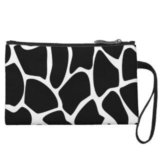 Giraffe Print Pattern. Animal Print Design, Black. Wristlet Clutch
