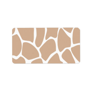 Giraffe Print Pattern in Beige. Address Label