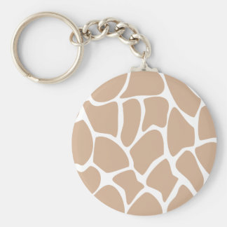 Giraffe Print Pattern in Beige. Basic Round Button Key Ring