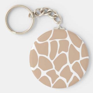 Giraffe Print Pattern in Beige. Key Ring
