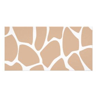 Giraffe Print Pattern in Beige Customized Photo Card