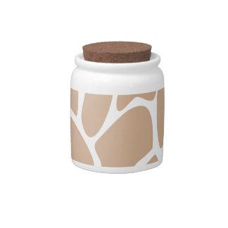 Giraffe Print Pattern in Beige Candy Jar