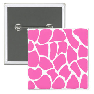 Giraffe Print Pattern in Bright Pink. 15 Cm Square Badge