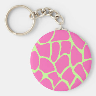 Giraffe Print Pattern in Bright Pink and Green. Basic Round Button Key Ring