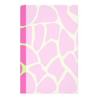 Giraffe Print Pattern in Bright Pink and Green. Stationery