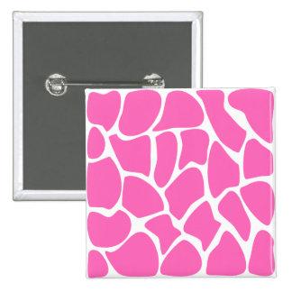 Giraffe Print Pattern in Bright Pink. Pinback Button