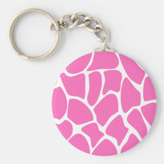 Giraffe Print Pattern in Bright Pink. Key Chain