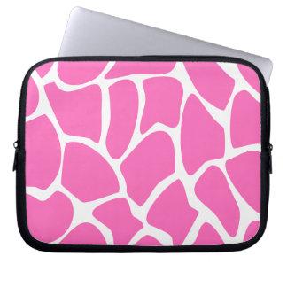 Giraffe Print Pattern in Bright Pink. Laptop Sleeve