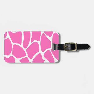 Giraffe Print Pattern in Bright Pink. Luggage Tag