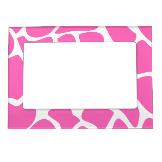 Giraffe Print Pattern in Bright Pink. Magnetic Frame