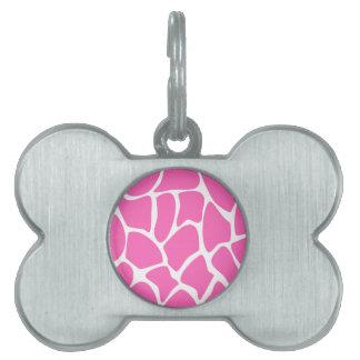 Giraffe Print Pattern in Bright Pink. Pet Name Tag