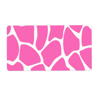 Giraffe Print Pattern in Bright Pink. Shipping Label