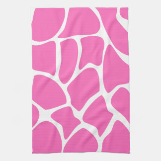 Giraffe Print Pattern in Bright Pink. Tea Towel