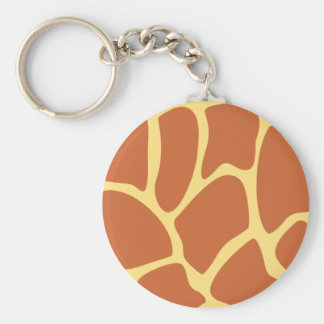 Giraffe Print Pattern in Brown and Yellow Keychain
