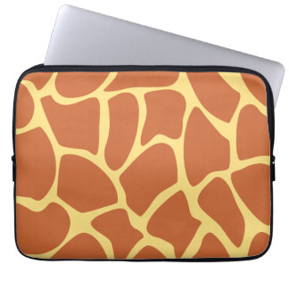 Giraffe Print Pattern in Brown and Yellow. Laptop Sleeve