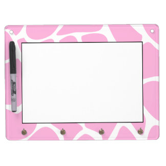 Giraffe Print Pattern in Candy Pink. Dry Erase Board With Key Ring Holder