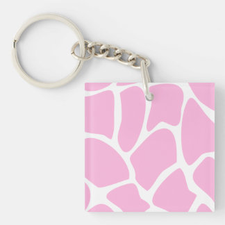 Giraffe Print Pattern in Candy Pink. Single-Sided Square Acrylic Keychain