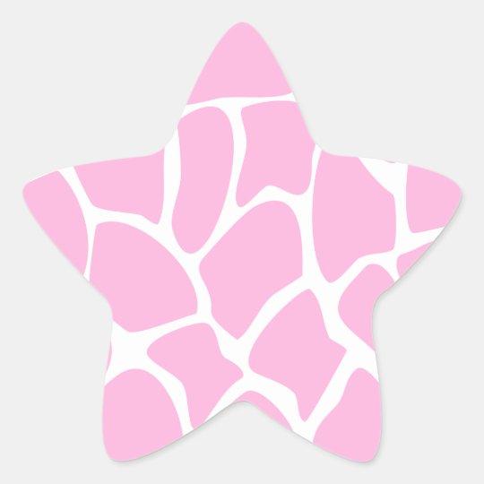 Giraffe Print Pattern in Candy Pink. Star Sticker