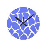Giraffe Print Pattern in Cornflower Blue. Clocks