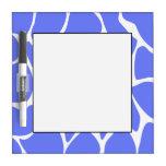 Giraffe Print Pattern in Cornflower Blue. Dry Erase Whiteboards
