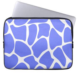 Giraffe Print Pattern in Cornflower Blue. Laptop Sleeve