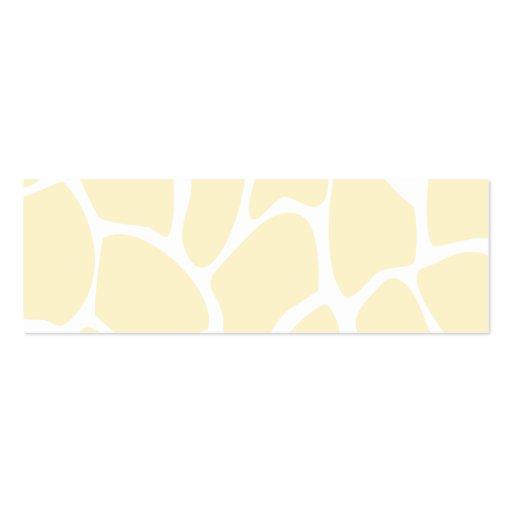 Giraffe Print Pattern in Cream Color. Business Card Template