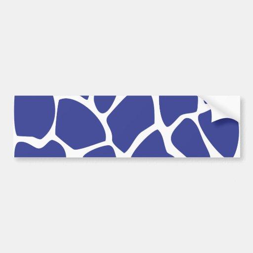 Giraffe Print Pattern in Dark Blue. Bumper Sticker