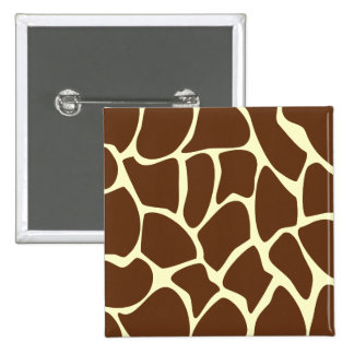 Giraffe Print Pattern in Dark Brown. 15 Cm Square Badge