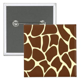 Giraffe Print Pattern in Dark Brown. 15 Cm Square Badge