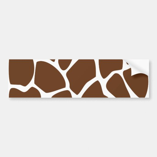 Giraffe Print Pattern in Dark Brown. Bumper Stickers